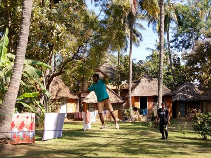 Slacklining in Manju's Place Guest House