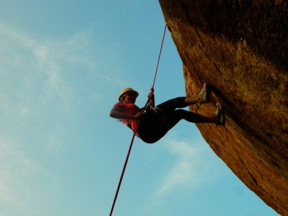 Rappeling at Sunset Point in Hampi Island